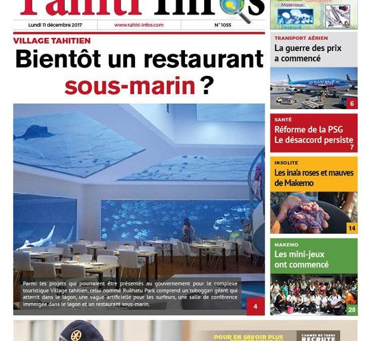 Le Ruahatu park en couverture de Tahiti Infos du 11/12/2017